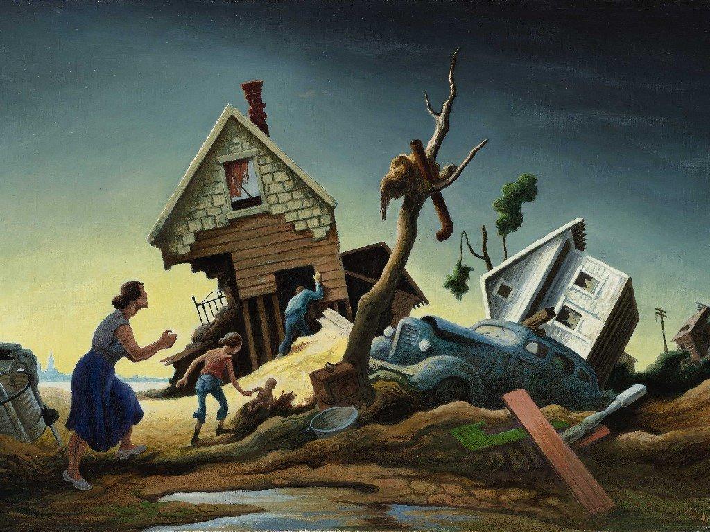 Artistic Wallpaper: Thomas Hart Benton - Flood Disaster