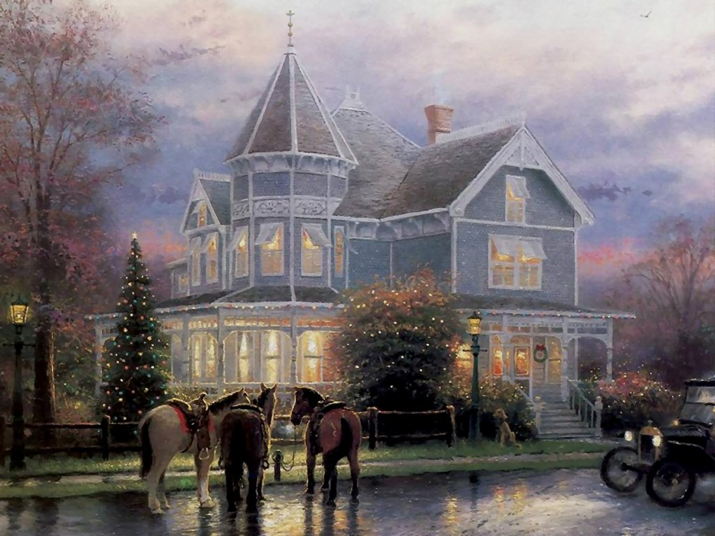 Artistic Wallpaper: Thomas Kinkade - Christmas Memories