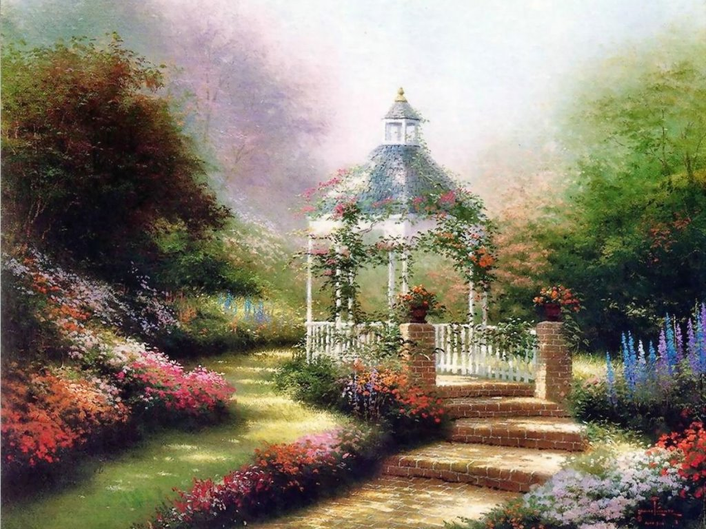 Artistic Wallpaper: Thomas Kinkade - Gazebo
