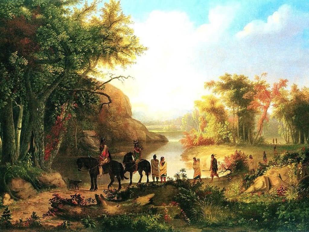 Artistic Wallpaper: Thomas M . Burnham - Indias in Sunset River Landscape