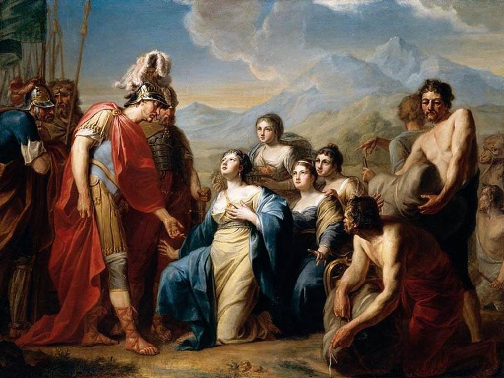 Artistic Wallpaper: Tischbein - The Queen of Sheba Kneeling Before King Solomon