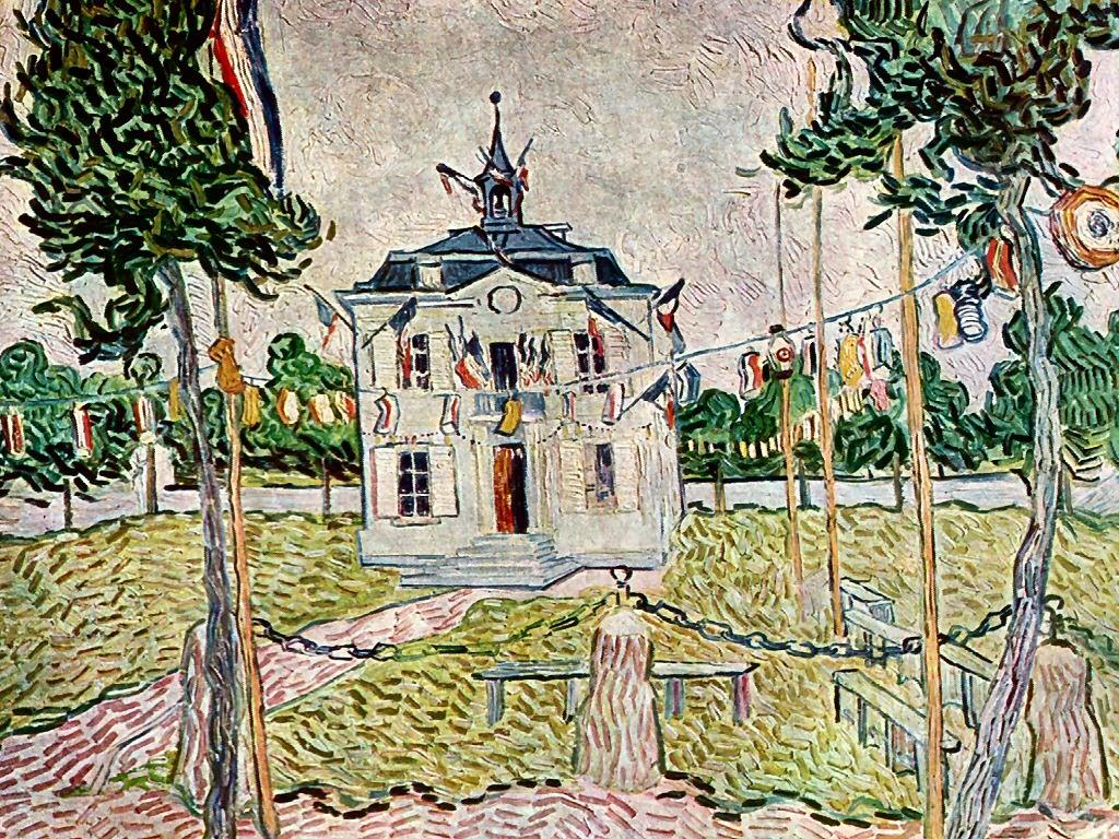 Artistic Wallpaper: Van Gogh - The Town Hall of Auvers