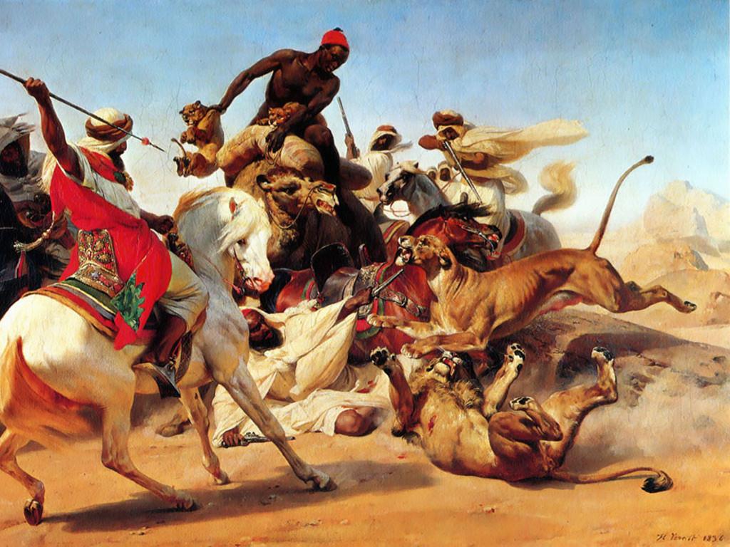 Artistic Wallpaper: Vernet - The Lion Hunt