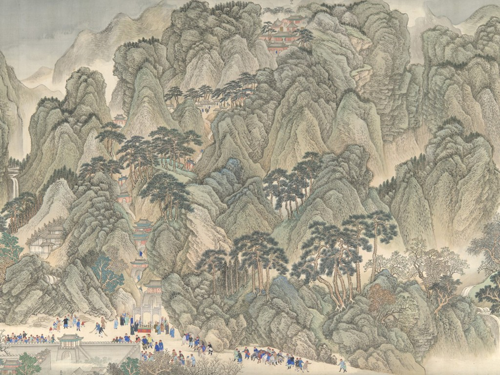 Artistic Wallpaper: Wang Hui - The Kangxi Emperor's Southern Inspection Tour, Scroll Three