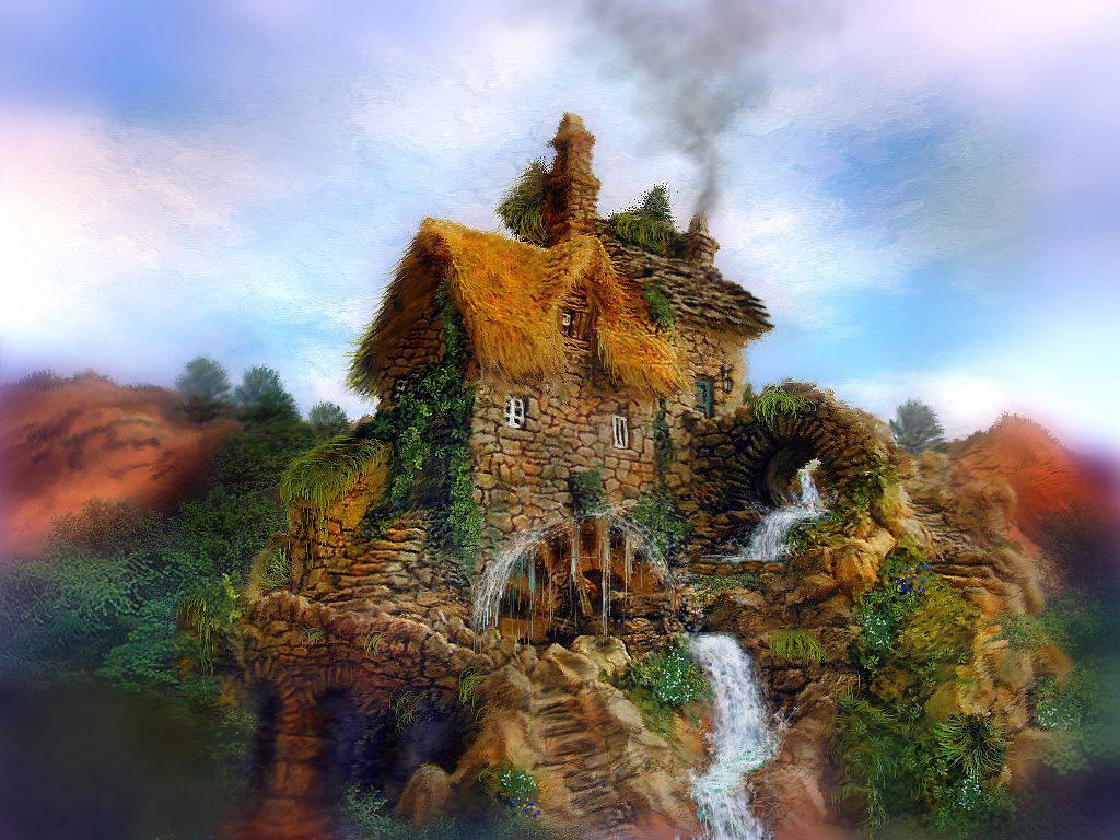 Artistic Wallpaper: Water Mill