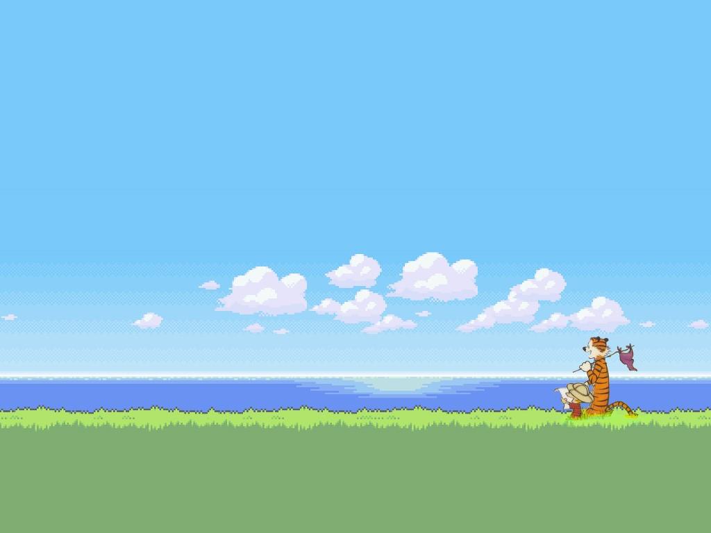 Cartoons Wallpaper: Calvin and Hobbes -16bits