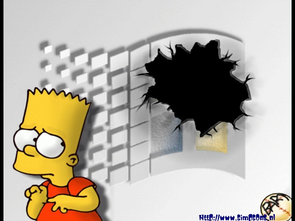 Cartoons Wallpaper: Bart Crashes Windows
