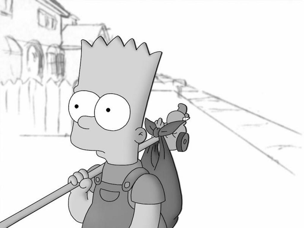 Cartoons Wallpaper: Bart Simpson Black and White