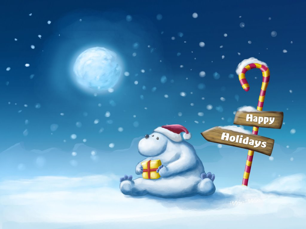 Cartoons Wallpaper: Bear - Happy Holidays