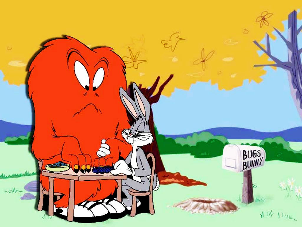 Cartoons Wallpaper: Bugs Bunny and a Monster