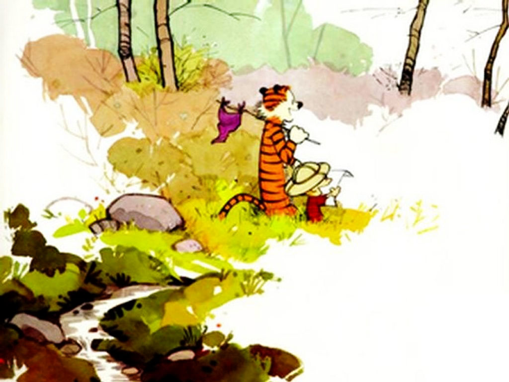Cartoons Wallpaper: Calvin and Hobbes in the Woods