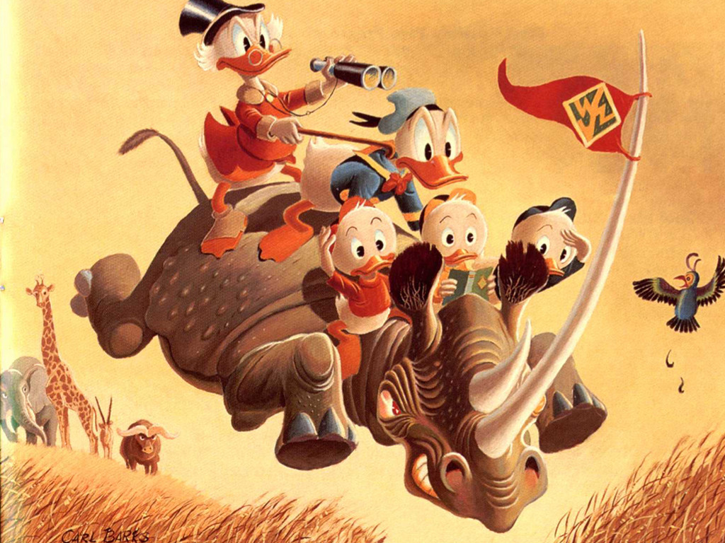 Cartoons Wallpaper: Carl Barks - Rhino and Ducks