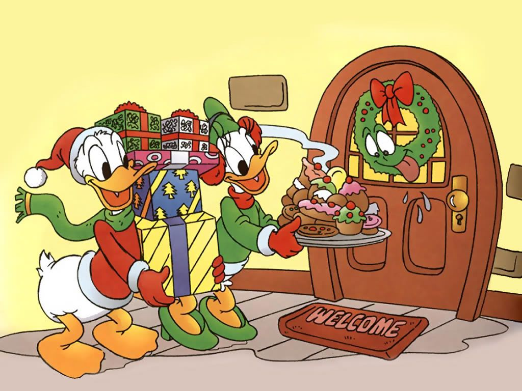 Cartoons Wallpaper: Christmas - Donald Duck and Daisy