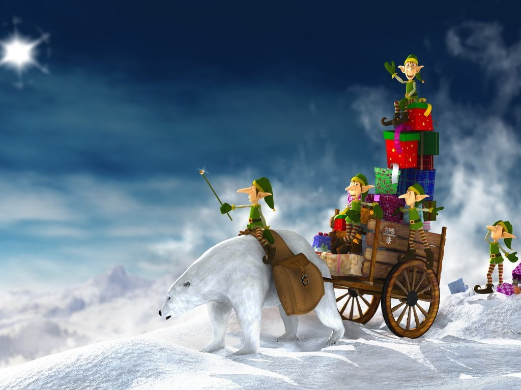 Cartoons Wallpaper: Christmas Elves