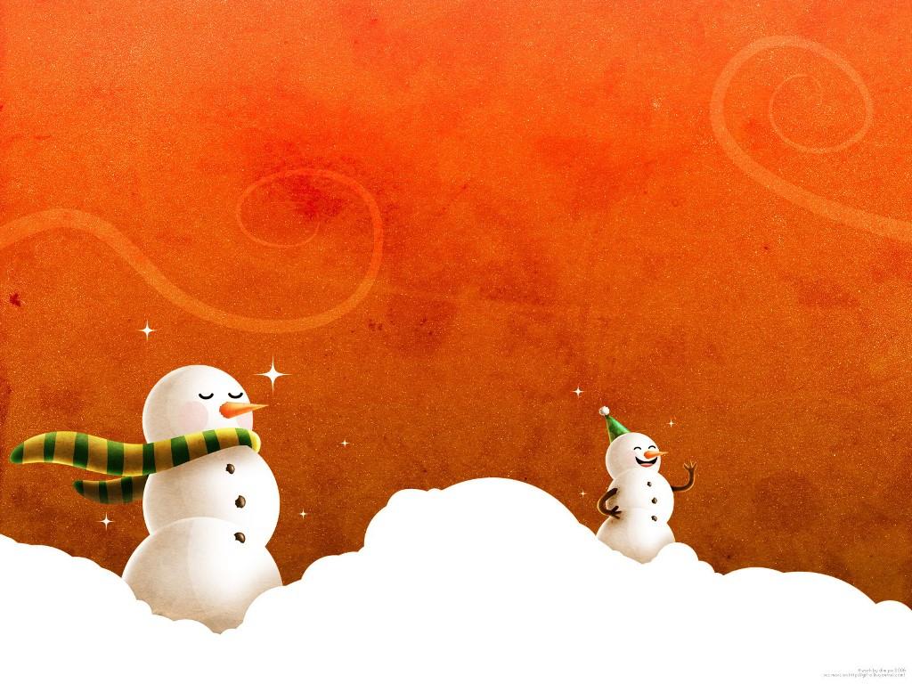 Cartoons Wallpaper: Christmas - Happy Snow Men