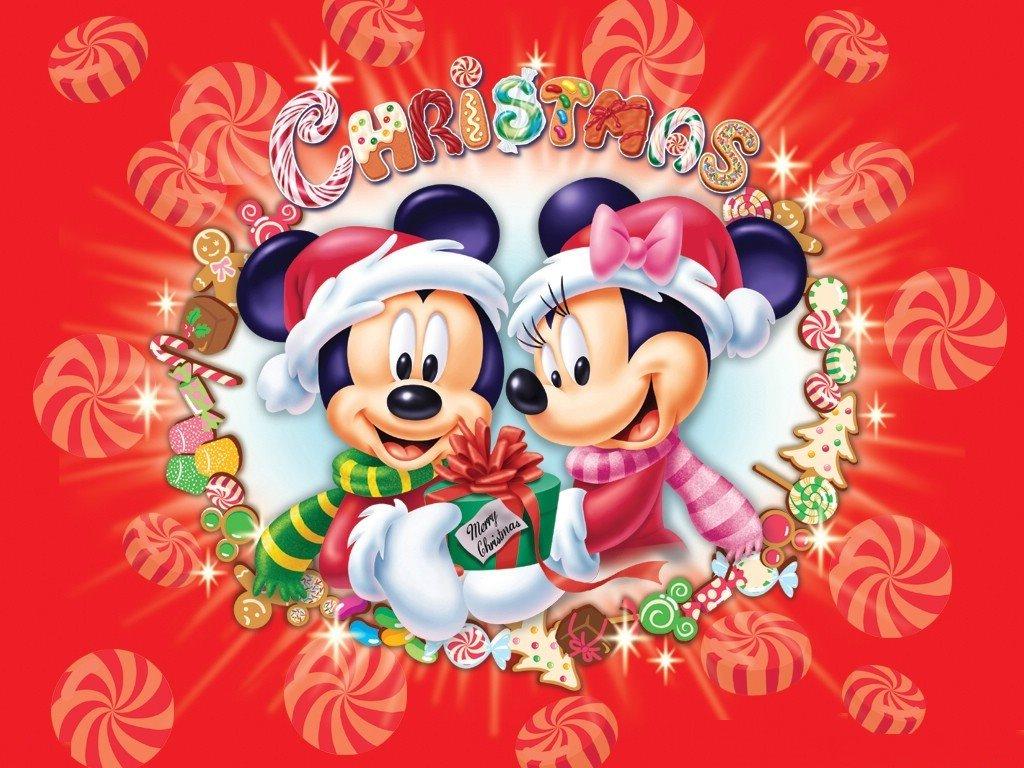 Cartoons Wallpaper: Christmas - Mickey and Minnie