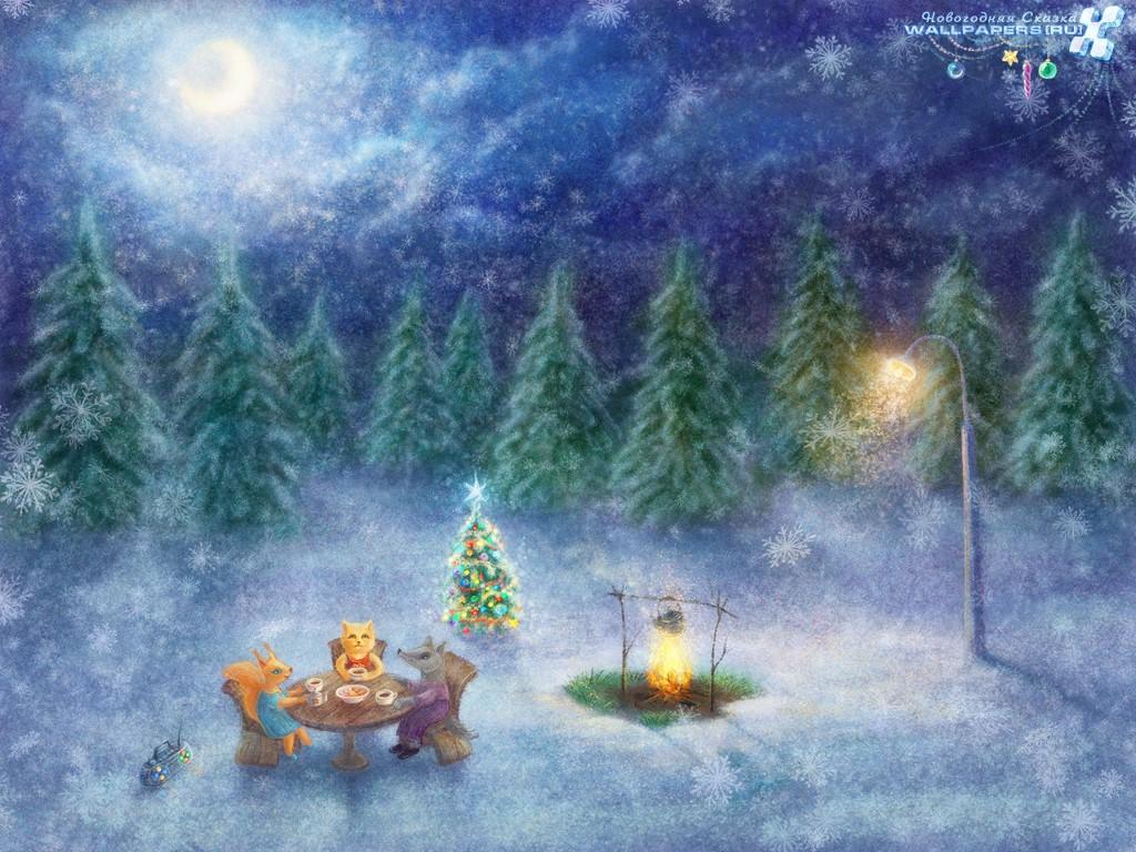 Cartoons Wallpaper: Christmas - Tea Party