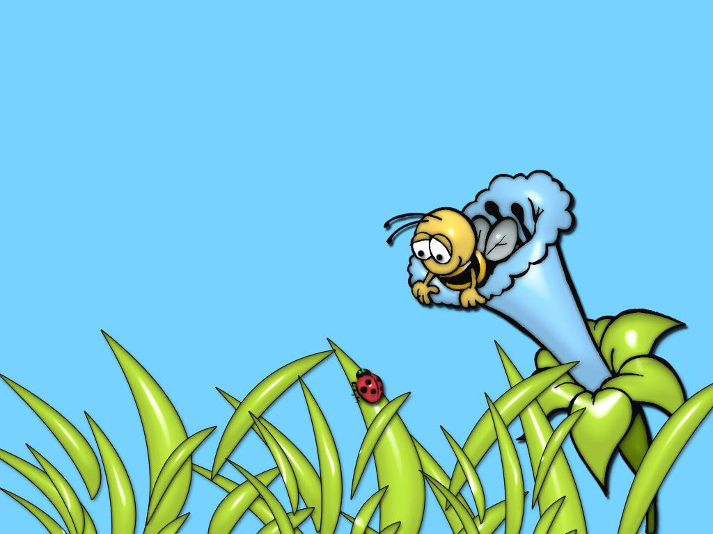 Cartoons Wallpaper: Colorful Garden - The Bee