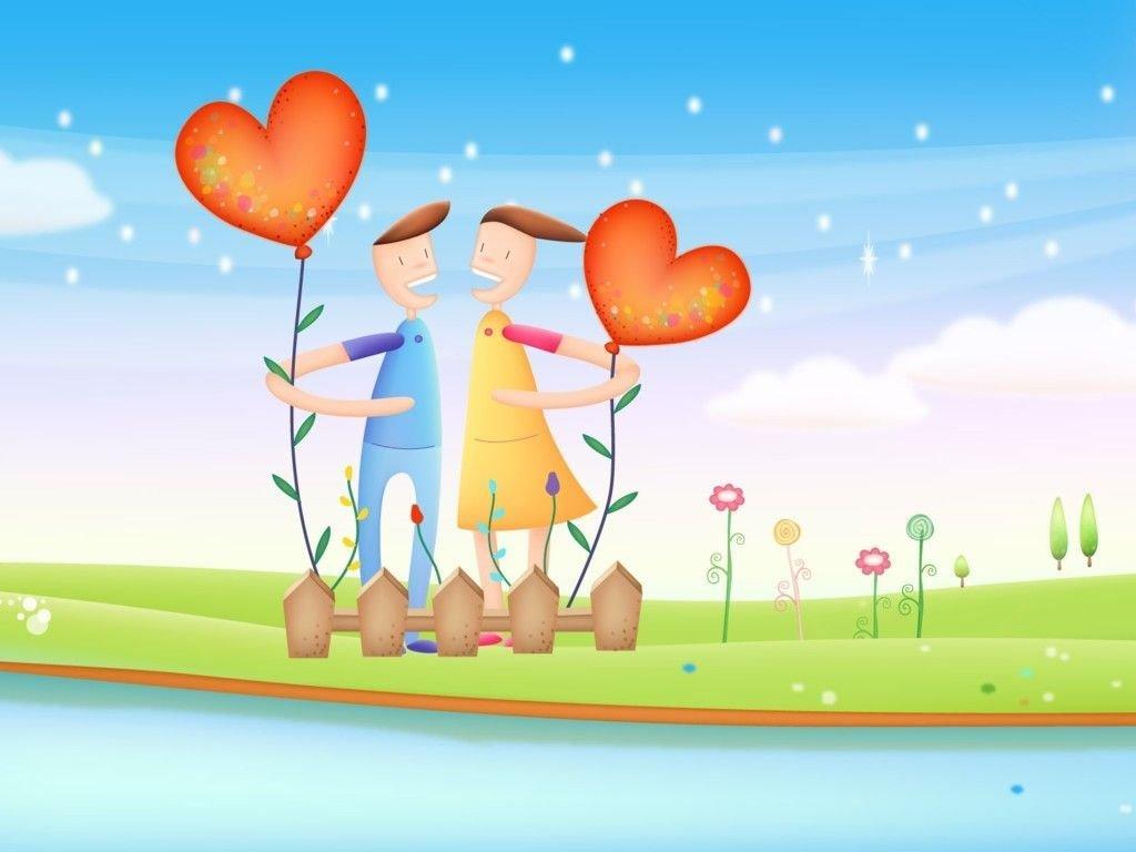 Cartoons Wallpaper: Love - Boy and Girl