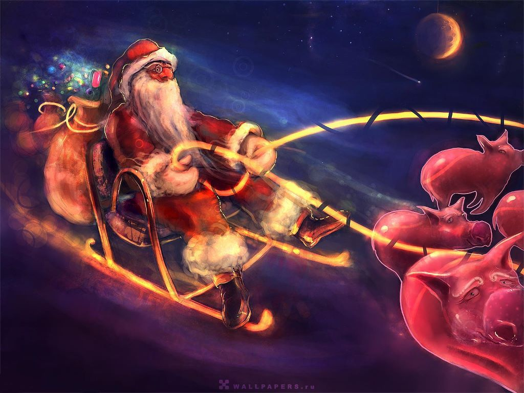 Cartoons Wallpaper: Crazy Santa