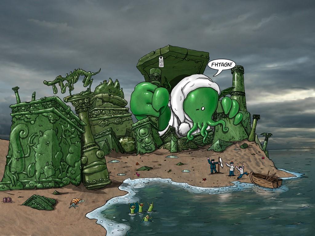 Cartoons Wallpaper: Cute Cthulhu - Awakening