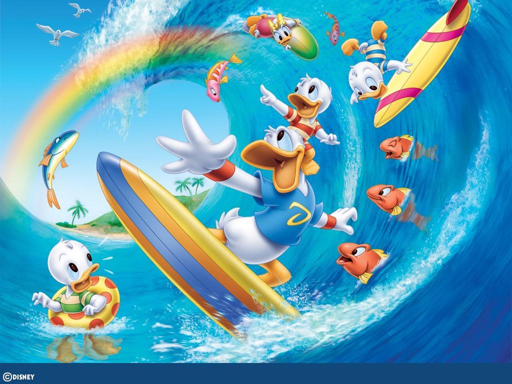 Cartoons Wallpaper: Donald Duck - Surfing