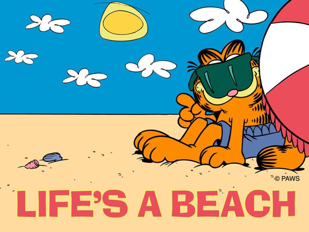 Cartoons Wallpaper: Garfiel - Life is a Beach