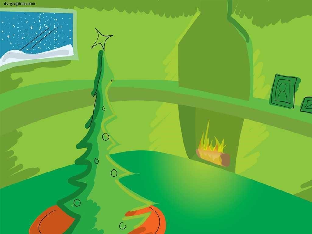 Cartoons Wallpaper: Green Christmas