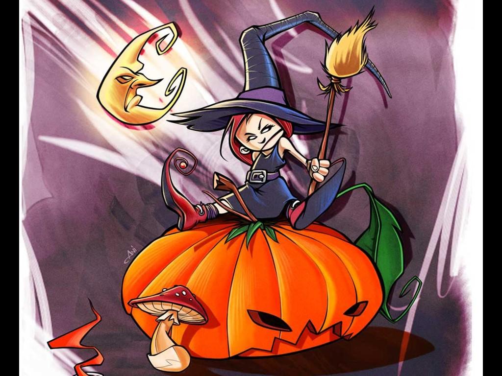 Cartoons Wallpaper: Halloween - Pumpkin Witch