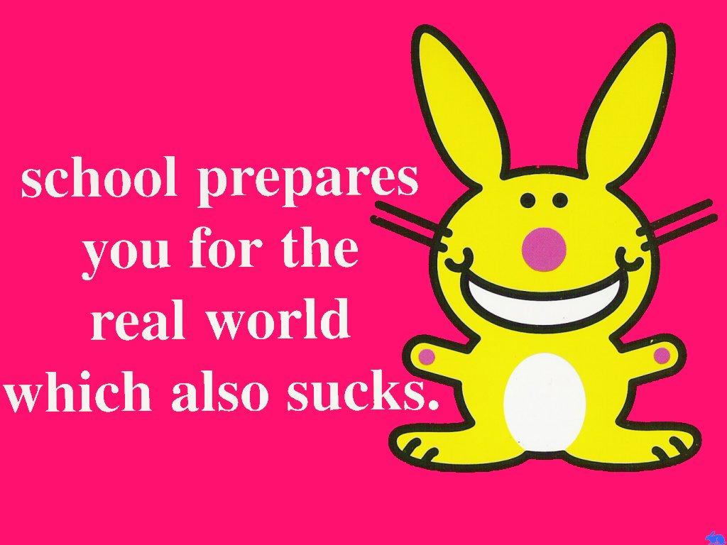 Cartoons Wallpaper: Happy Bunny - School