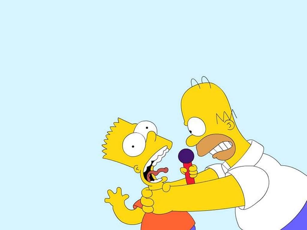 Cartoons Wallpaper: Homer Against Bart