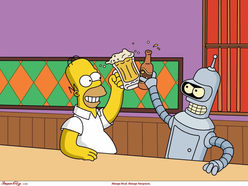 Cartoons Wallpaper: Homer Simpson and Bender