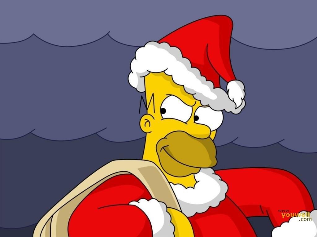 Cartoons Wallpaper: Homer Simpson - Santa Claus