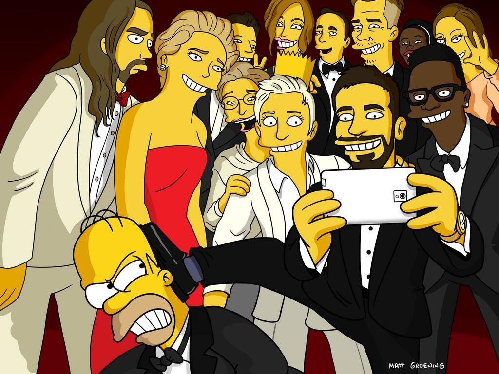 Cartoons Wallpaper: Homer Simpson - Selfie