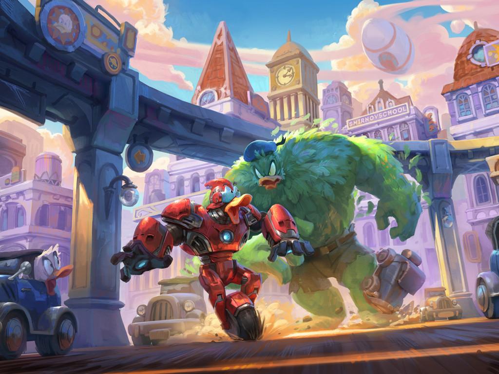 Cartoons Wallpaper: Iron Duck vs Hulknald
