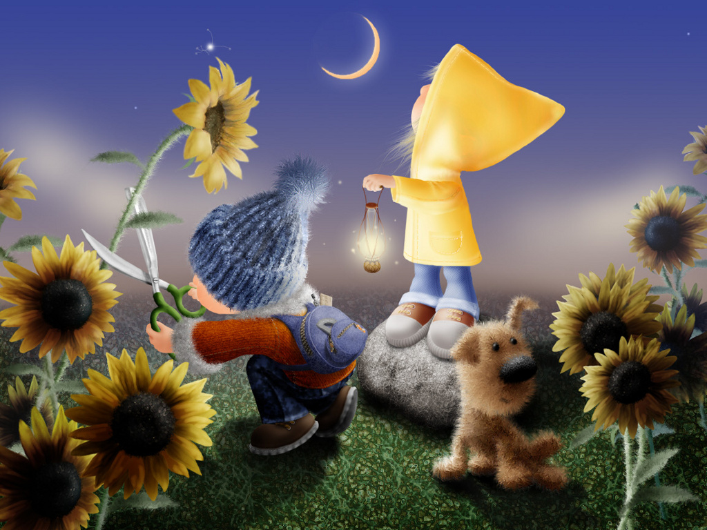Cartoons Wallpaper: Kids in a Sunflower Garden