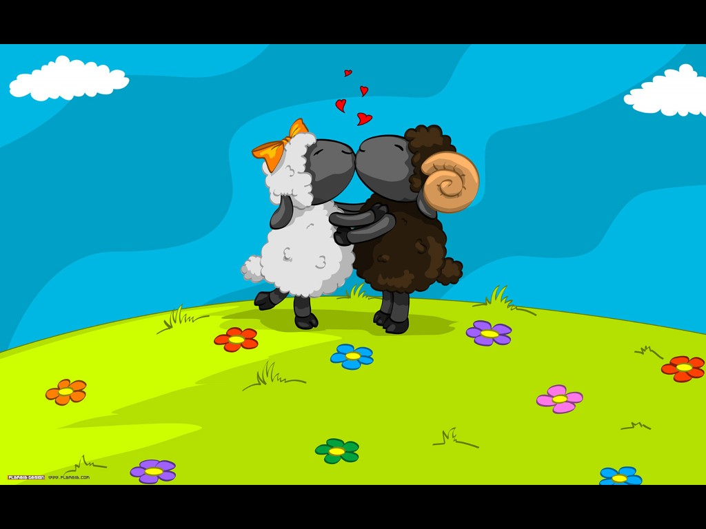 Cartoons Wallpaper: Kissing Lambs