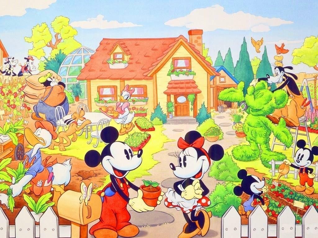 Cartoons Wallpaper: Mickey and Friends - Gardening