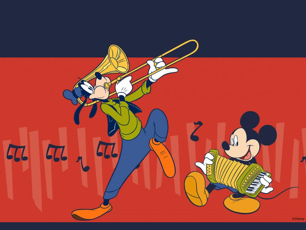 Cartoons Wallpaper: Mickey and Goofy - Band
