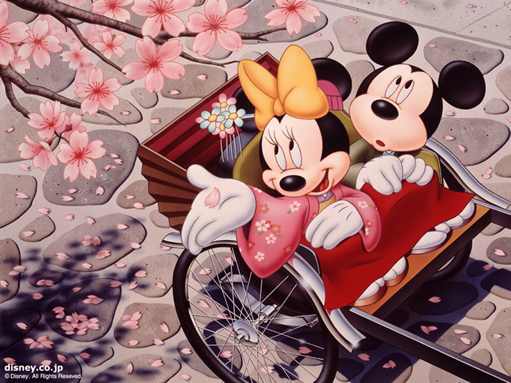 Cartoons Wallpaper: Mickey and Minnie in Japan