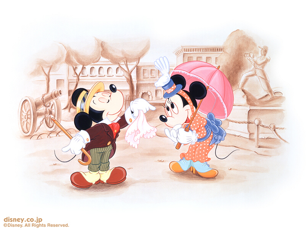 Cartoons Wallpaper: Mickey and Minnie