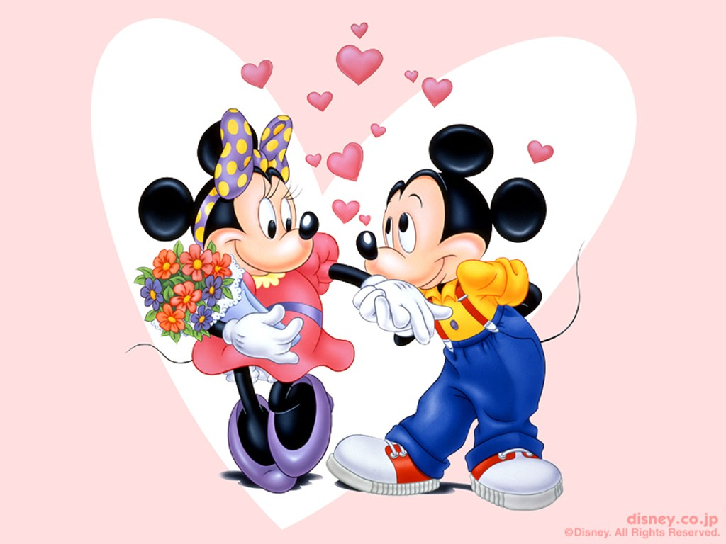 Cartoons Wallpaper: Mickey in Love