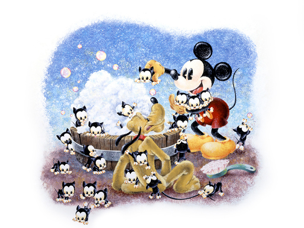 Cartoons Wallpaper: Mickey and Pluto - Kitties