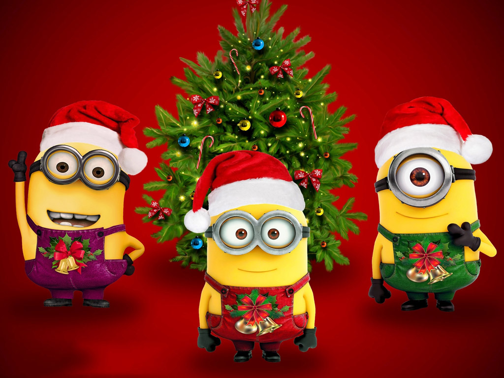 Cartoons Wallpaper: Minions - Christmas