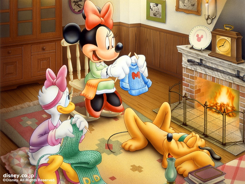 Cartoons Wallpaper: Minnie Mouse and Daisy - Fireplace