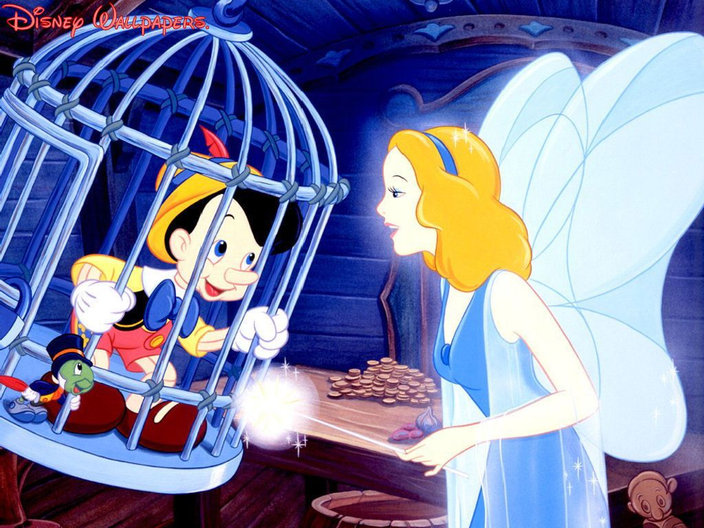 Cartoons Wallpaper: Pinocchio and the Blue Fairy