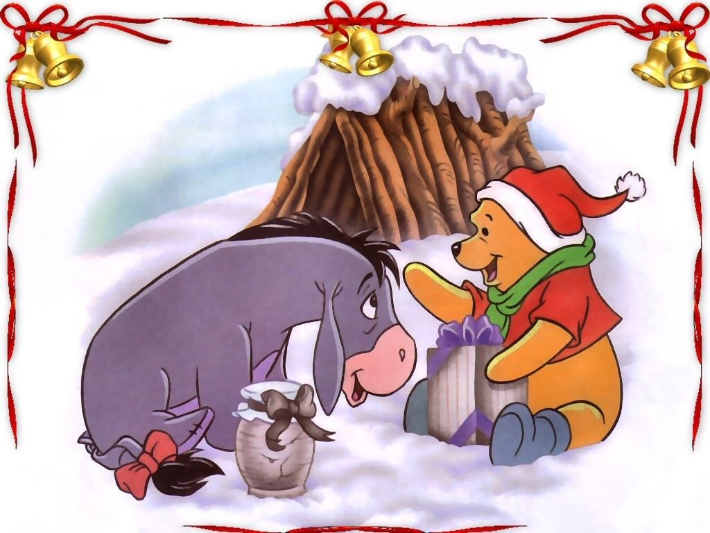 Cartoons Wallpaper: Pooh and Eeyore - Christmas