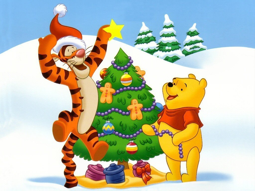 Cartoons Wallpaper: Pooh and Tigger - Xmas