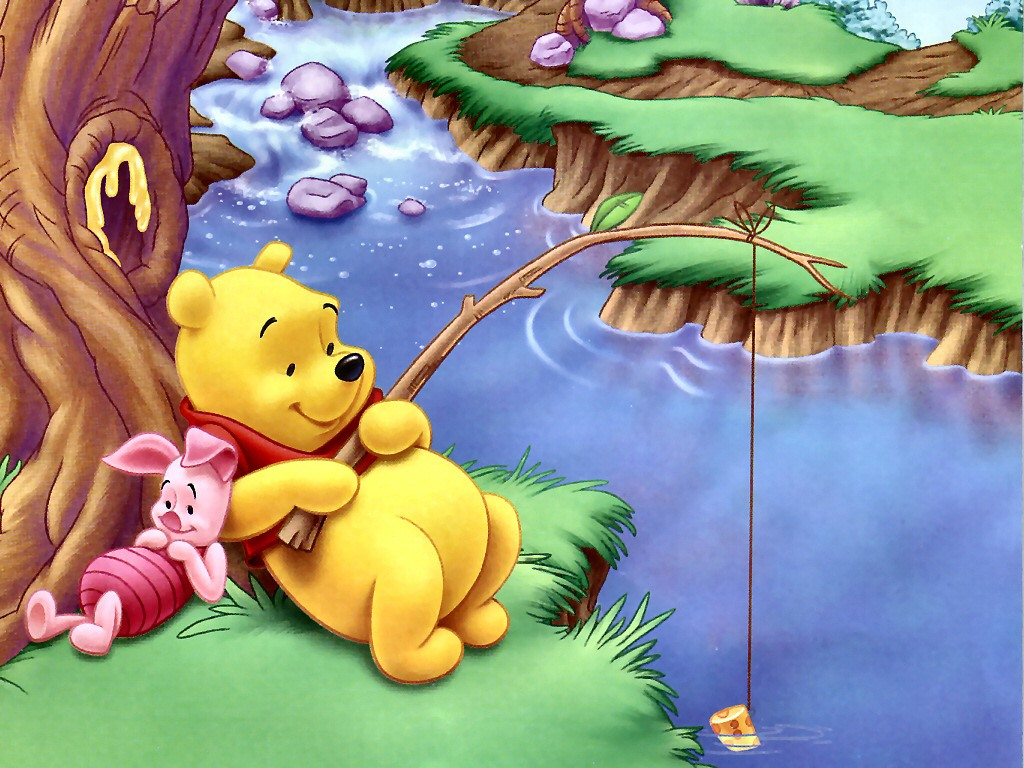 Cartoons Wallpaper: Pooh - Fishing