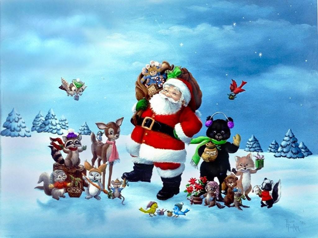 Cartoons Wallpaper: Santa Claus and Friends